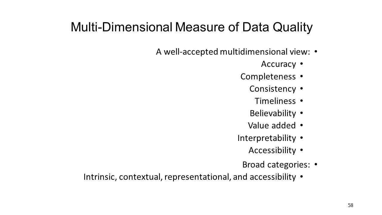 Multi-Dimensional Measure of Data Quality
