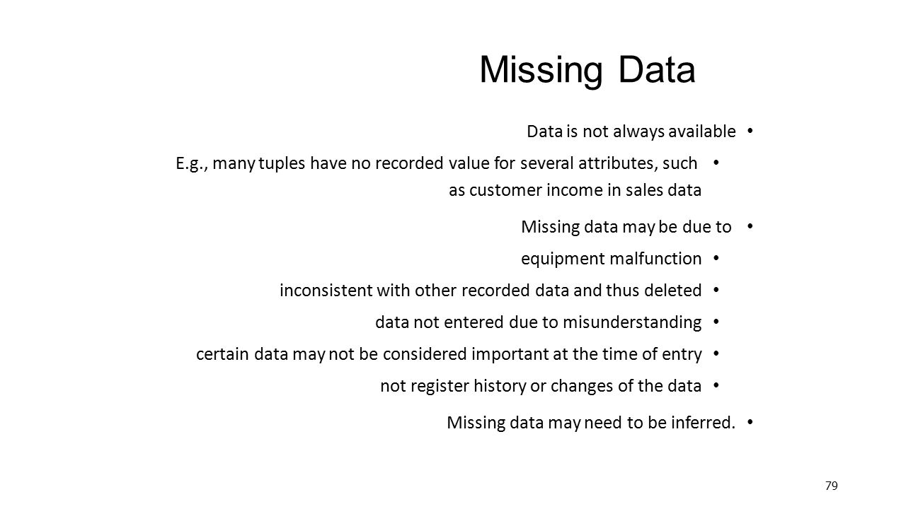 Missing Data Data is not always available