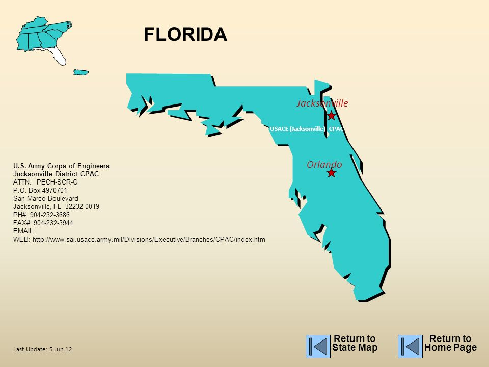 florida jacksonville orlando return to state map return to home page