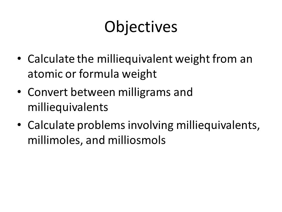 relationship between equivalent and milliequivalent