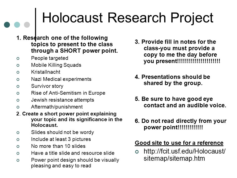 holocaust research project The holocaust/genocide project (hgp) is an international, nonprofit, telecommunications project focusing on study of the holocaust and other genocides the beast within is an interdisciplinary unit for ninth graders.