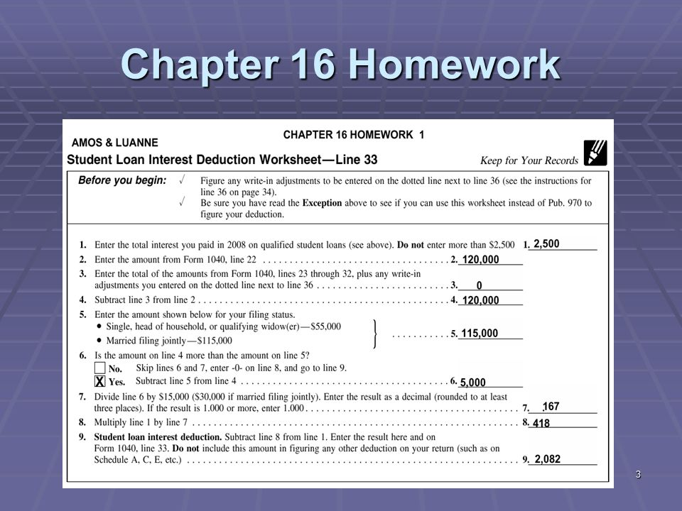 Liberty Tax Service Online Basic Income Tax Course Lesson ppt – Tax and Interest Deduction Worksheet