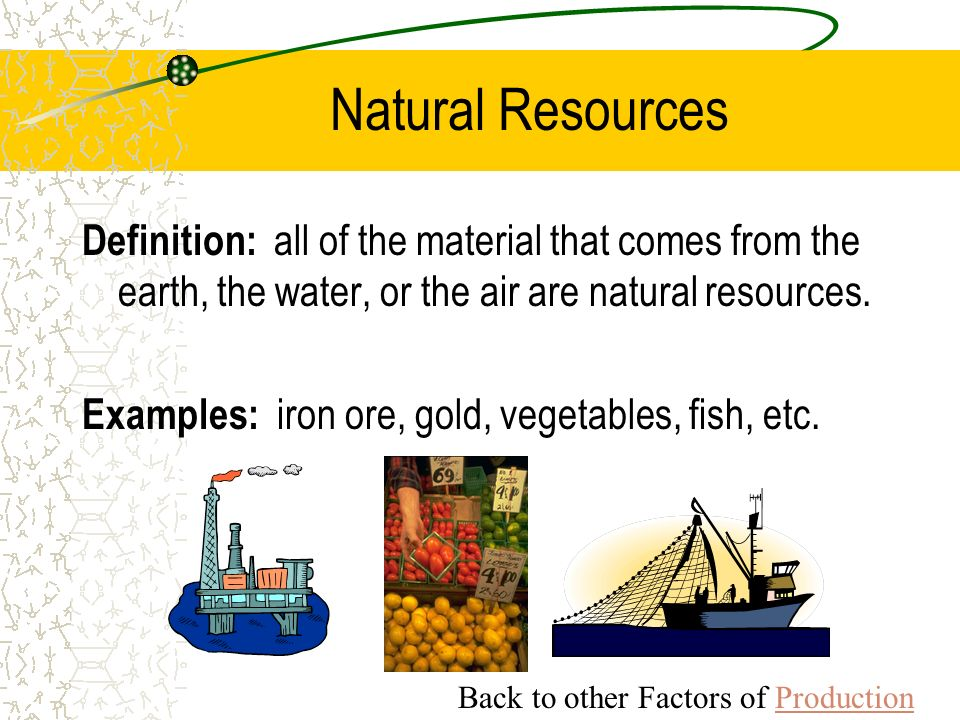 Natural resources are made by the Earth only, and they are useful to humans in many ways. They can be biotic, such as plants, animals, and fossil fuels; or they can be abiotic, meaning they originate from nonliving and inorganic materials.