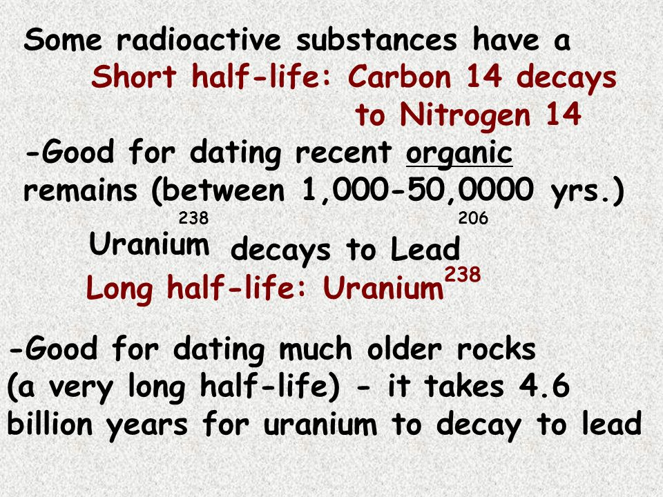 half life carbon dating sample In the case of radiocarbon dating, the half-life of carbon 14 is 5,730 years this half life is a relatively small number, which means that carbon 14 dating is not particularly helpful for very recent deaths and deaths more than 50,000 years ago.