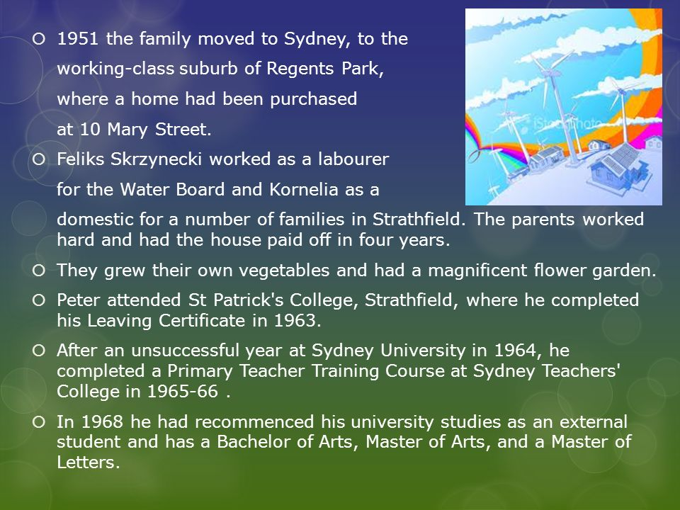 1951 the family moved to Sydney, to the