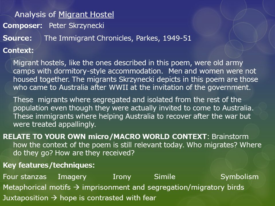 Analysis of Migrant Hostel