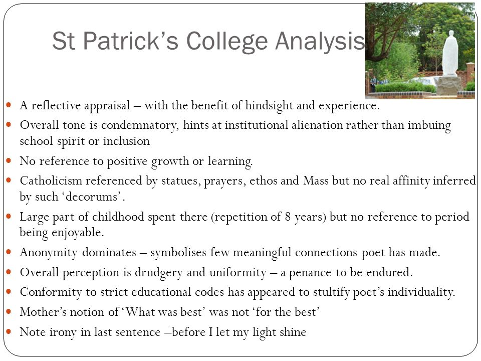 St Patrick's College Analysis