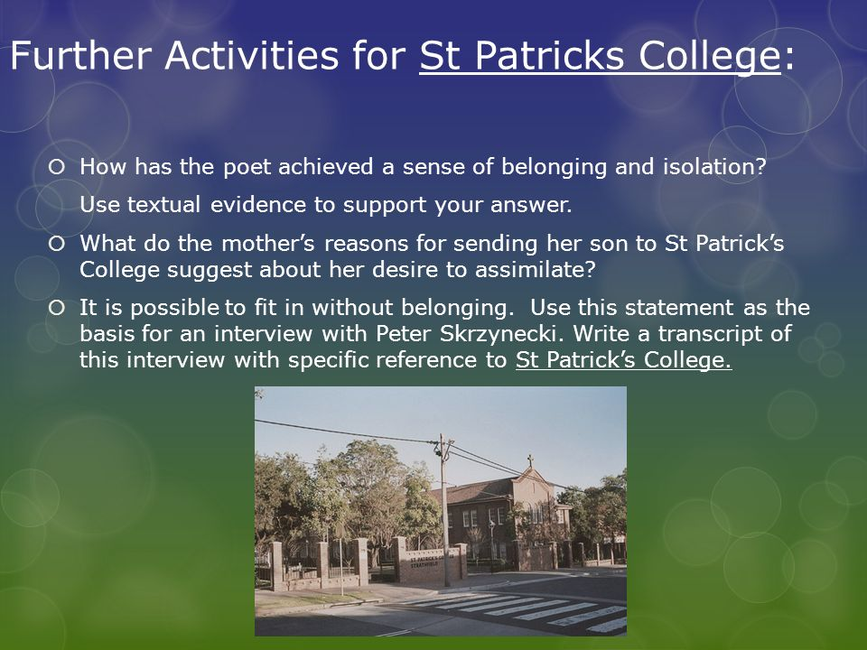 Further Activities for St Patricks College: