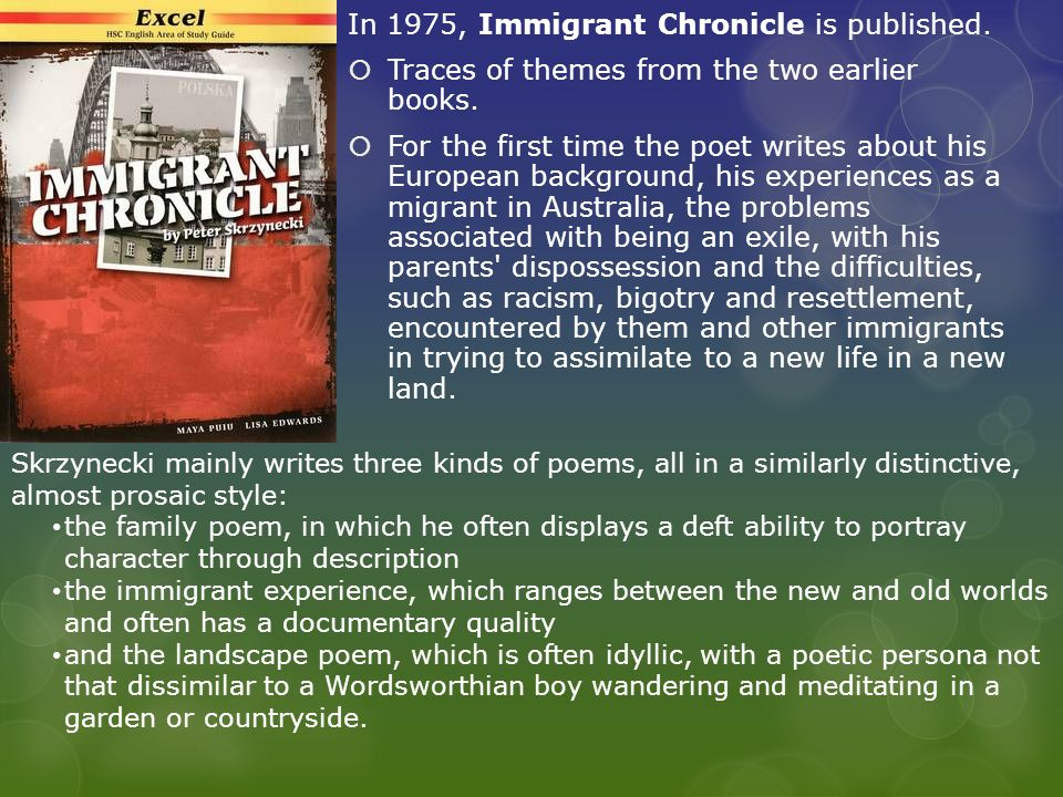 In 1975, Immigrant Chronicle is published.