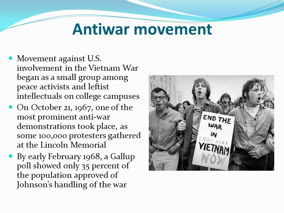 a study on the antiwar movement against vietnam in the united states Protests against the vietnam war in washington, dc, on october 21, 1967 the movement against the involvement of the united states in the vietnam war began in the us with demonstrations in 1964 and grew in strength in later years the us became polarized between those who advocated continued involvement in vietnam and those who wanted peace.