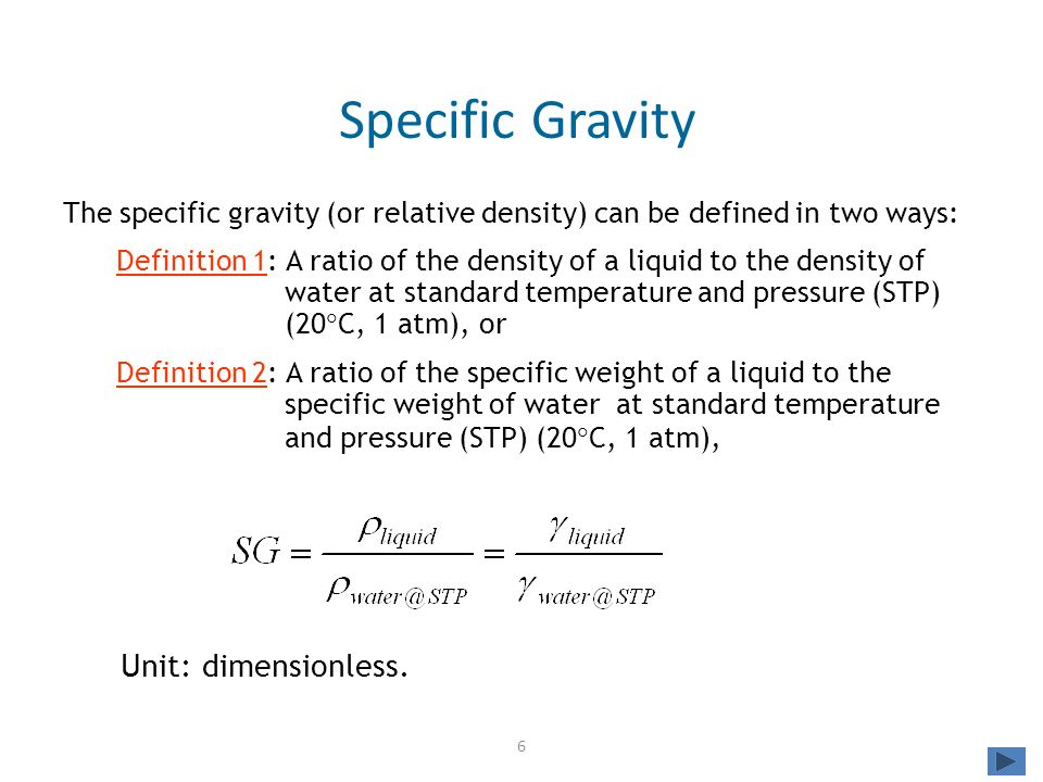 water and specific gravity Density and specific gravity defined density is expressed in terms of mass per unit volume the density of water, often used for comparisons.