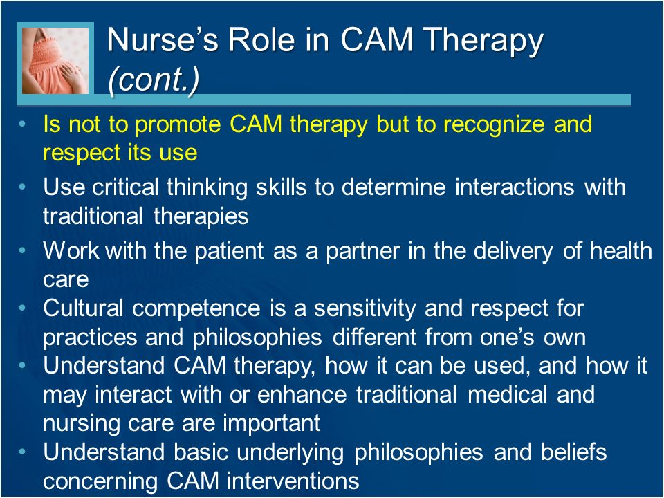 nursing and cam therapy Evaluating cam therapy: evidence-based medicine & complementary & alternative therapies evidence-based medicine & complementary & alternative therapies.