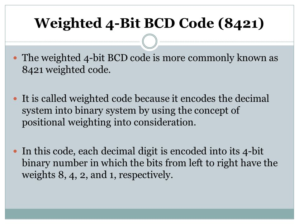 Weighted 4-Bit BCD Code (8421)