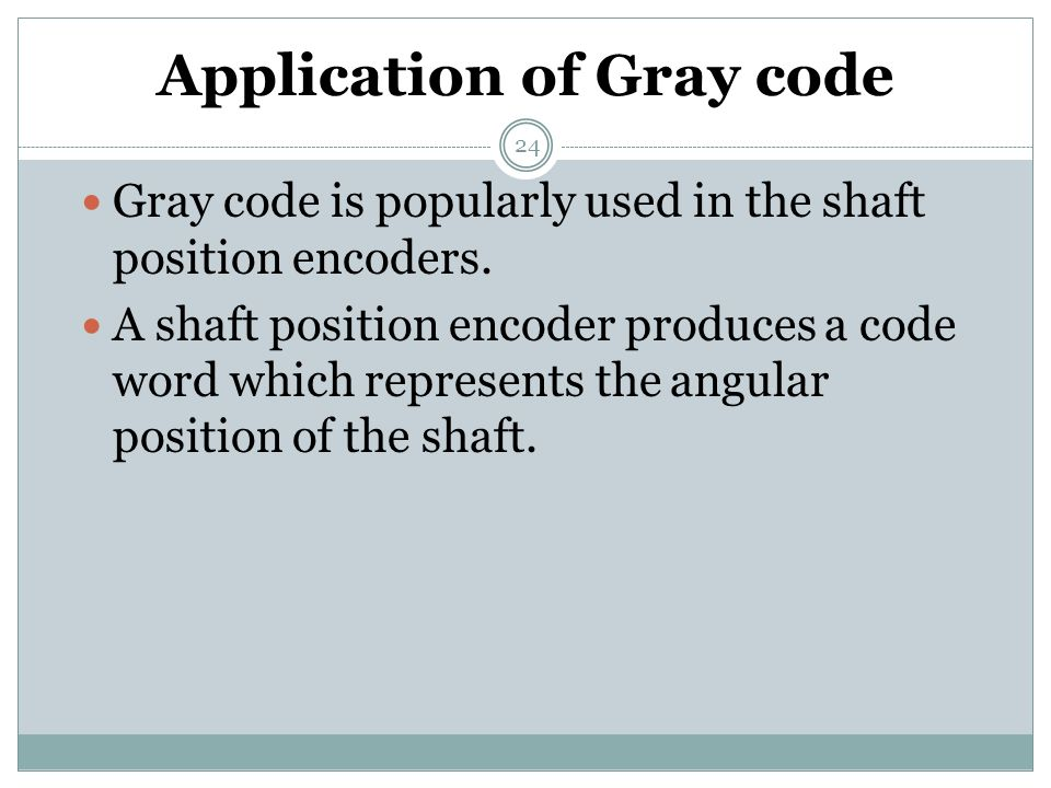 Application of Gray code