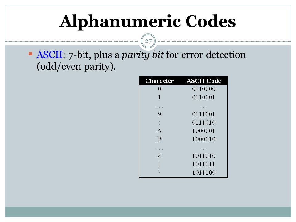 Alphanumeric Codes ASCII: 7-bit, plus a parity bit for error detection (odd/even parity).