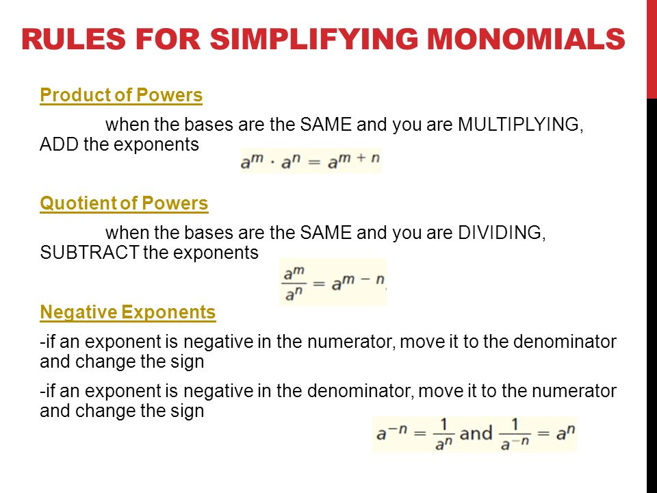 51 Monomials Objectives Multiply and divide monomials ppt video – Simplifying Monomials Worksheet
