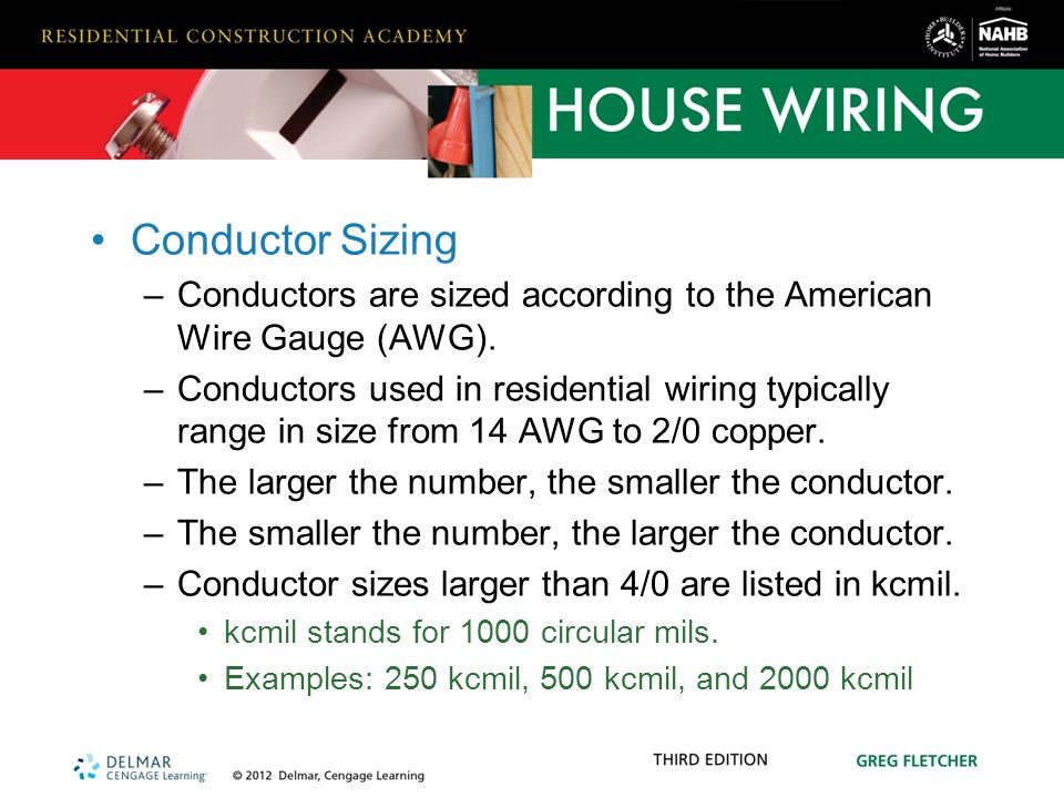 Hardware and materials used in residential wiring ppt video conductor sizing conductors are sized according to the american wire gauge awg greentooth Gallery