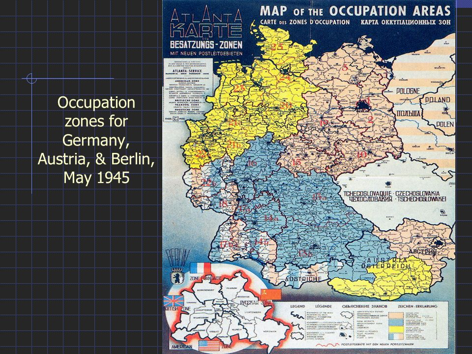 Occupation Zones For Germany Austria Berlin May Ppt Video - Germany map zones