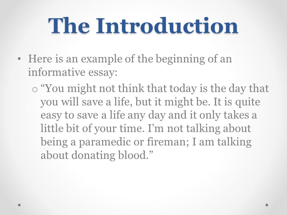 Introduction examples for informative essays for middle school