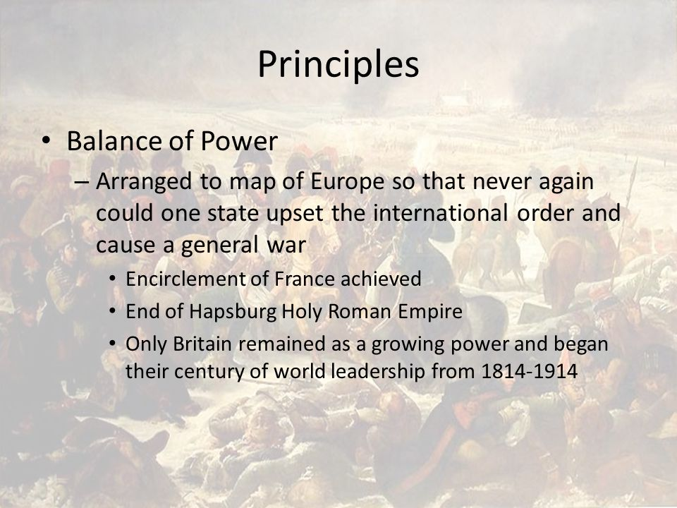 An overview of the balance of power principle in europe
