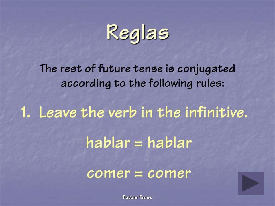 Reglas 1. Leave the verb in the infinitive. hablar = hablar
