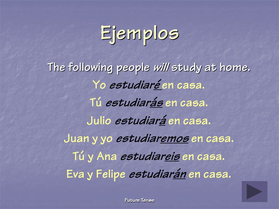 Ejemplos The following people will study at home.