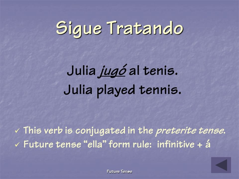 Sigue Tratando Julia jugó al tenis. Julia played tennis.
