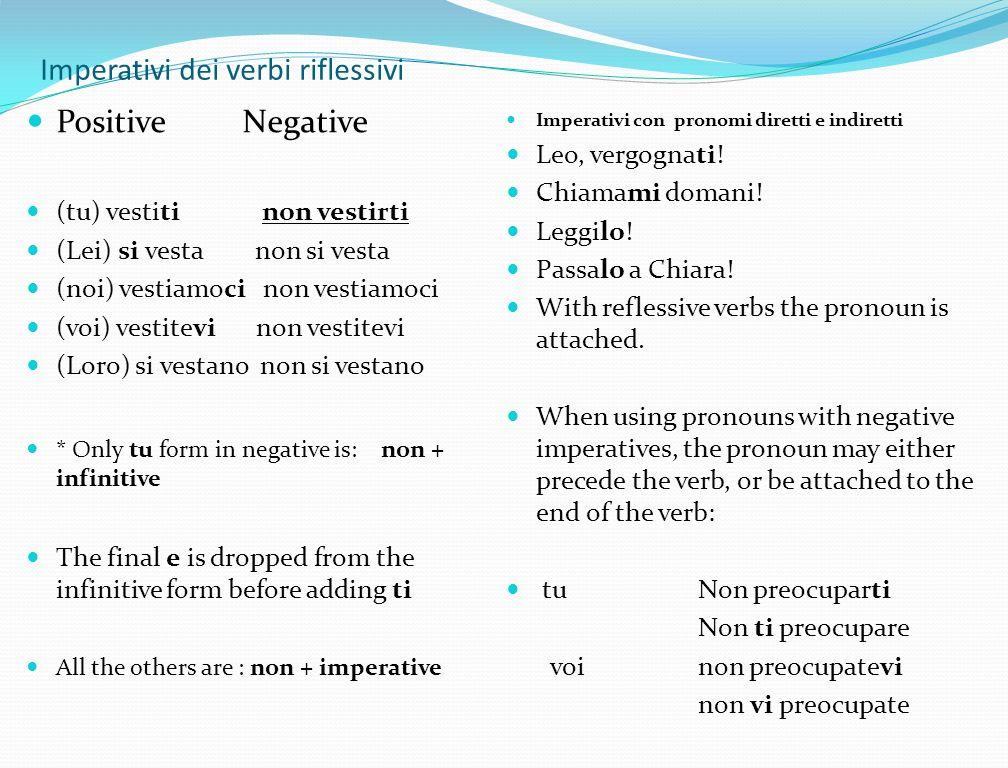Imperativi dei verbi riflessivi