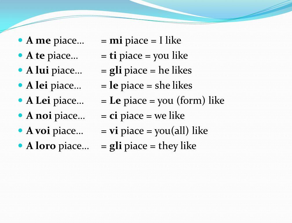 A me piace… = mi piace = I like