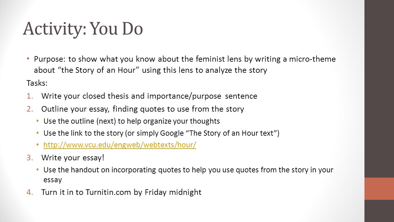The story of an hour feminist thesis