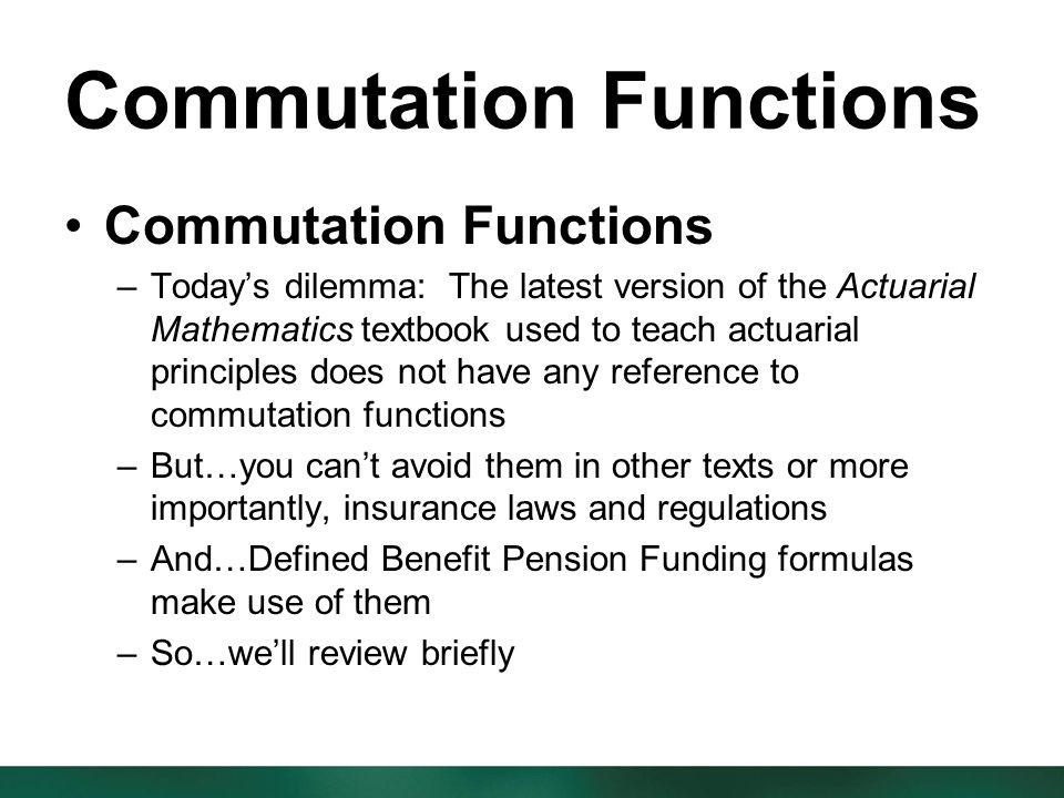 commutation actuarial xlam
