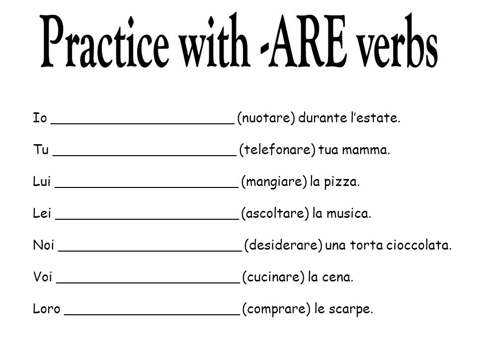 Practice with -ARE verbs