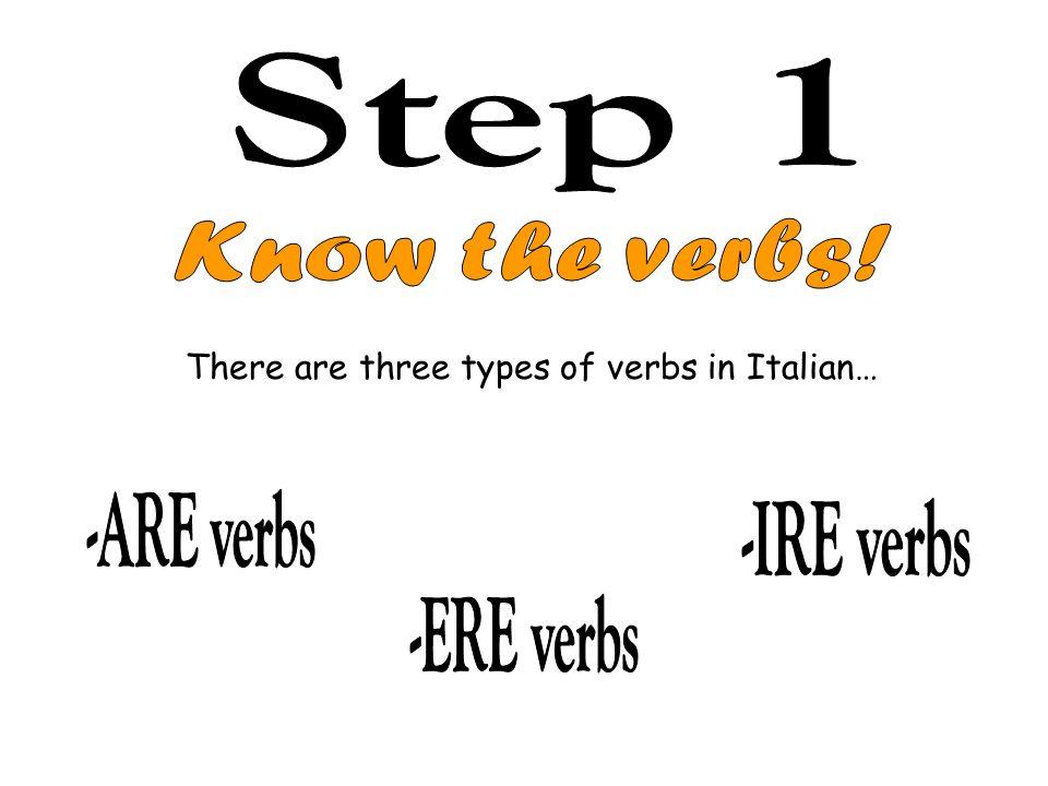 Step 1 Know the verbs! -ARE verbs -IRE verbs -ERE verbs