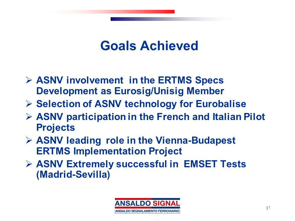Goals Achieved ASNV involvement in the ERTMS Specs Development as Eurosig/Unisig Member. Selection of ASNV technology for Eurobalise.