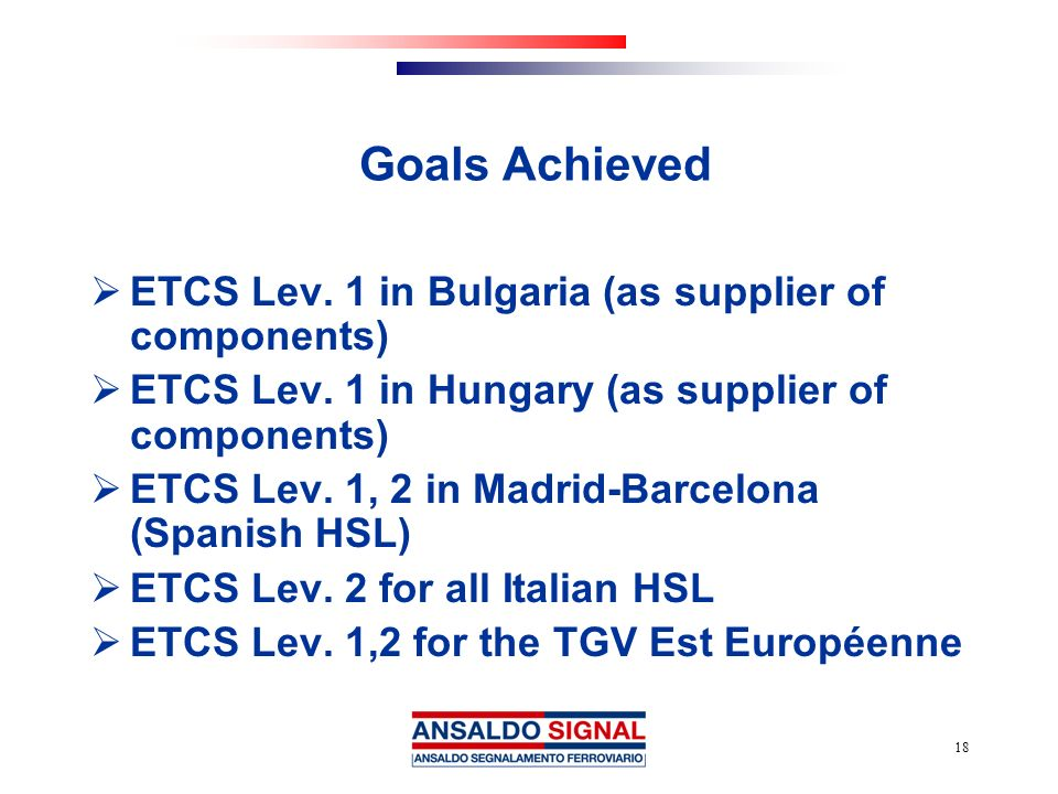 Goals Achieved ETCS Lev. 1 in Bulgaria (as supplier of components)