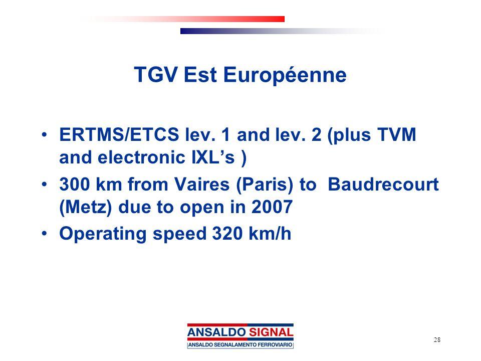 TGV Est Européenne ERTMS/ETCS lev. 1 and lev. 2 (plus TVM and electronic IXL's )