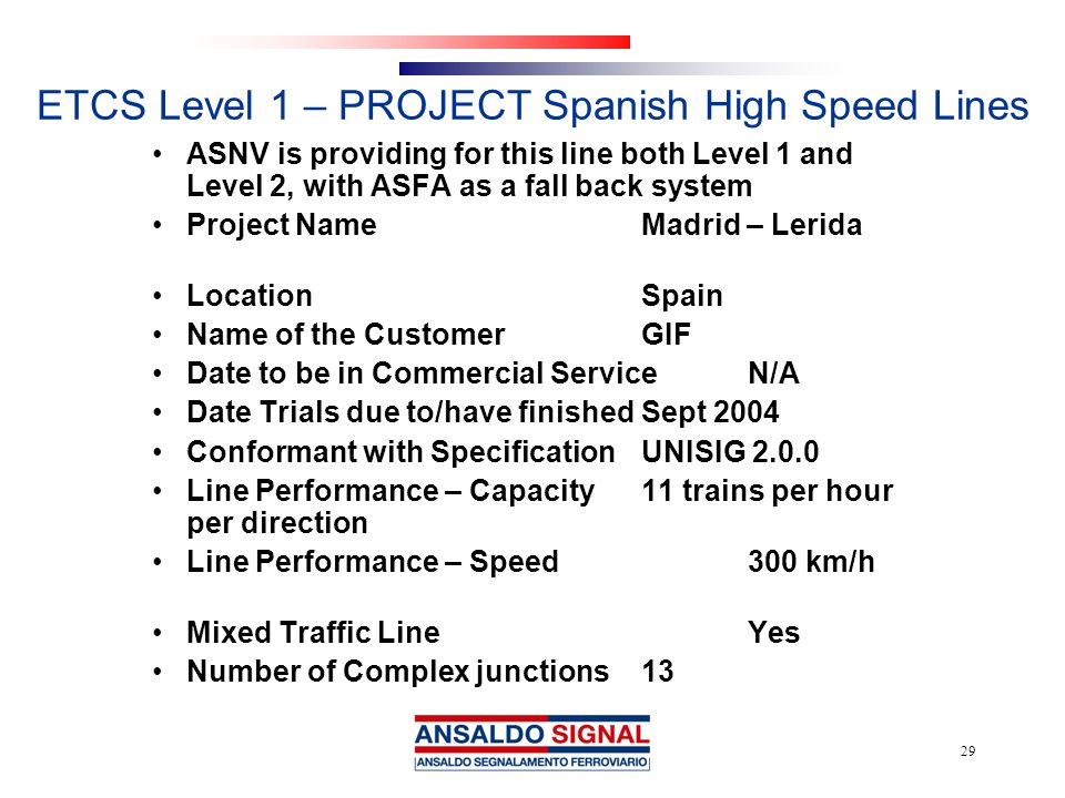 ETCS Level 1 – PROJECT Spanish High Speed Lines