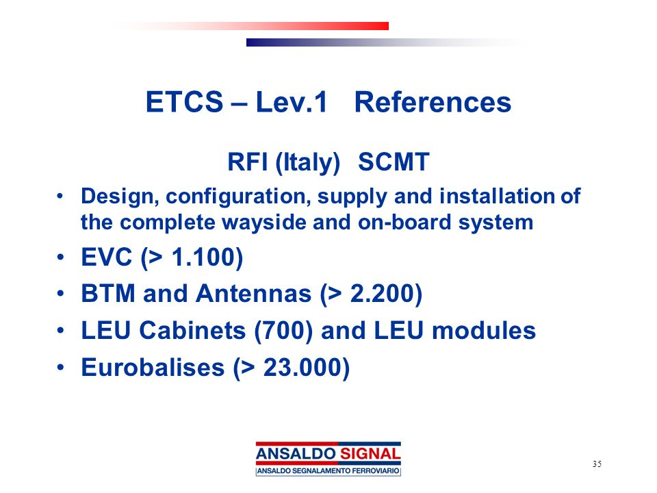 ETCS – Lev.1 References RFI (Italy) SCMT EVC (> 1.100)