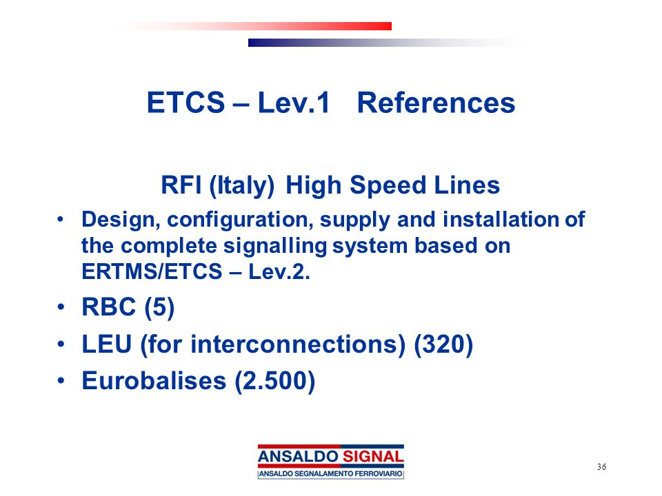 RFI (Italy) High Speed Lines