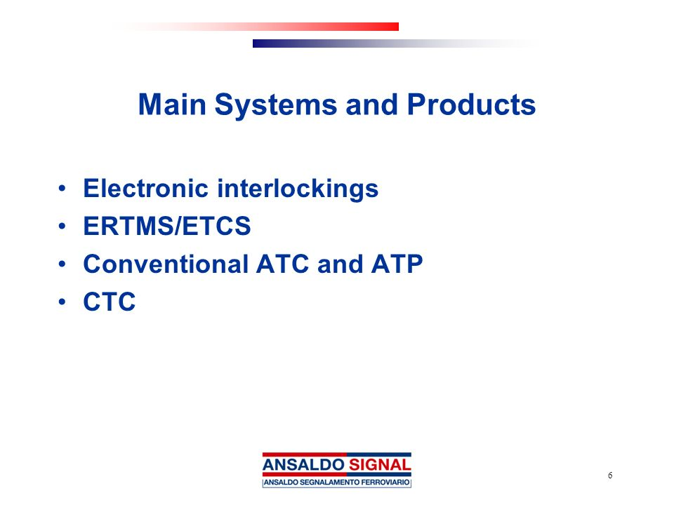 Main Systems and Products