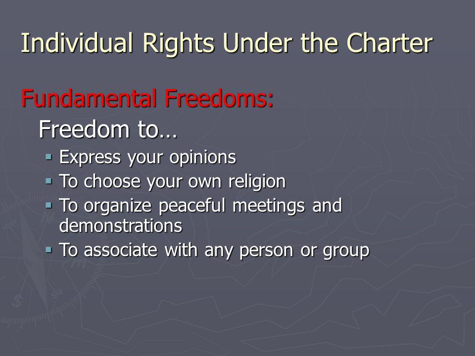 individual rights and freedoms The first ten amendments to the constitution, or the bill of rights, set forth the  priceless rights or freedoms that all americans may enjoy a brief summary of  these.