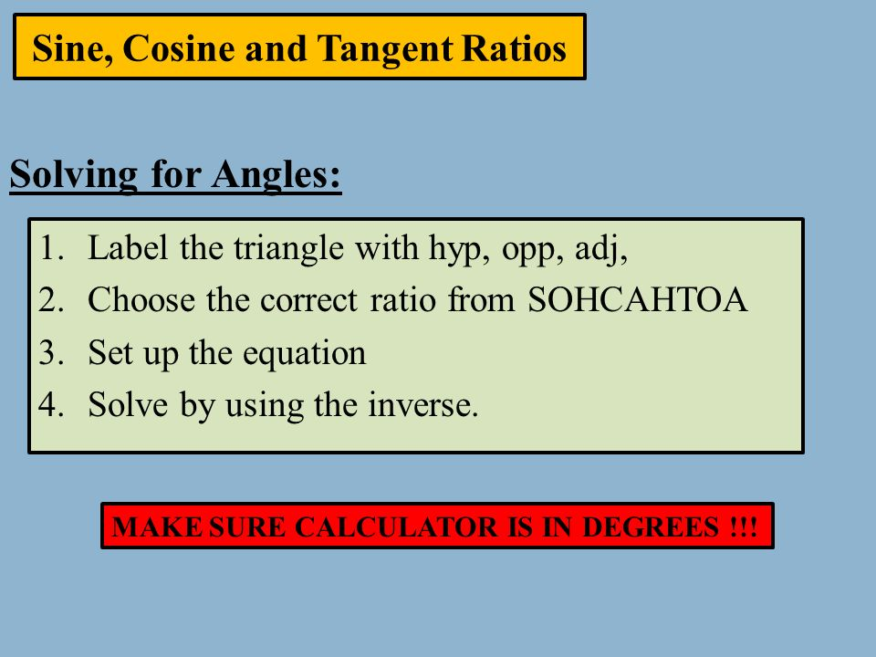 how to write sine cosine and tangent ratios