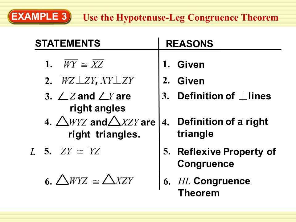 EXAMPLE 3 Use the Hypotenuse-Leg Congruence Theorem Write ...