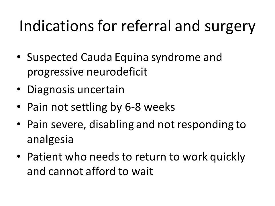 guidelines for the management of suspected cauda equina syndrome
