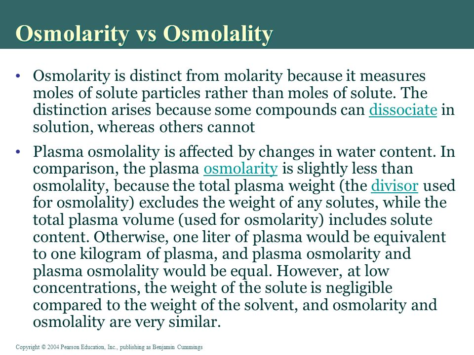 estimating osmolarity by change in volume Start studying physiology: osmolarity & body fluid compartments  defined empirically by the direction of the change in volume  isotonic - no change in cells.