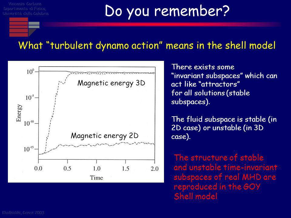 Do you remember Vincenzo Carbone. Dipartimento di Fisica, Università della Calabria. What turbulent dynamo action means in the shell model.