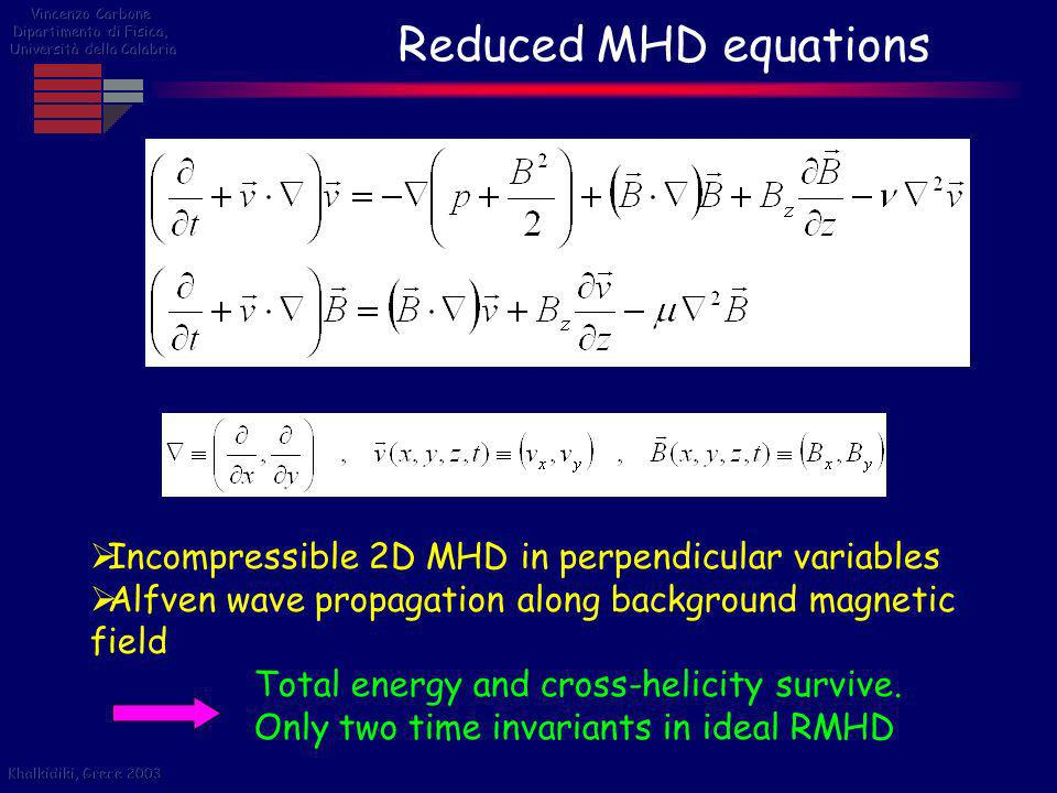 Reduced MHD equations Incompressible 2D MHD in perpendicular variables