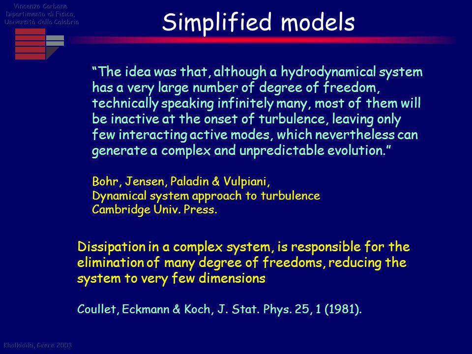 Vincenzo Carbone Dipartimento di Fisica, Università della Calabria. Simplified models.