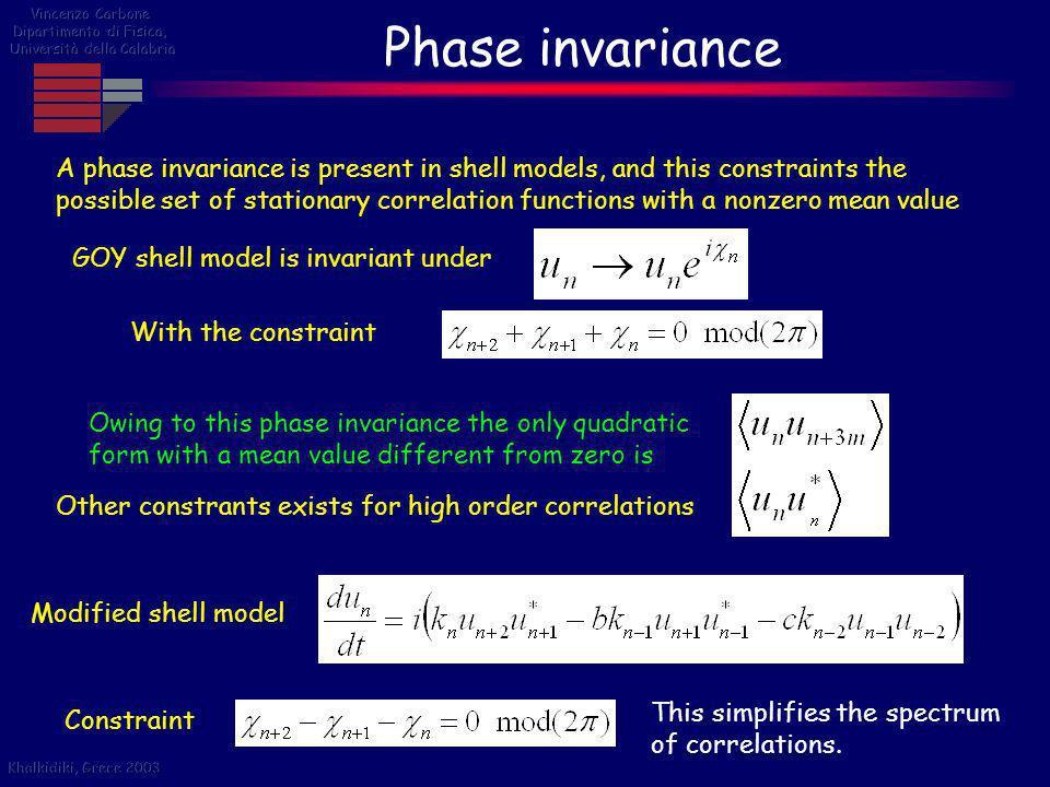Vincenzo Carbone Dipartimento di Fisica, Università della Calabria. Phase invariance.