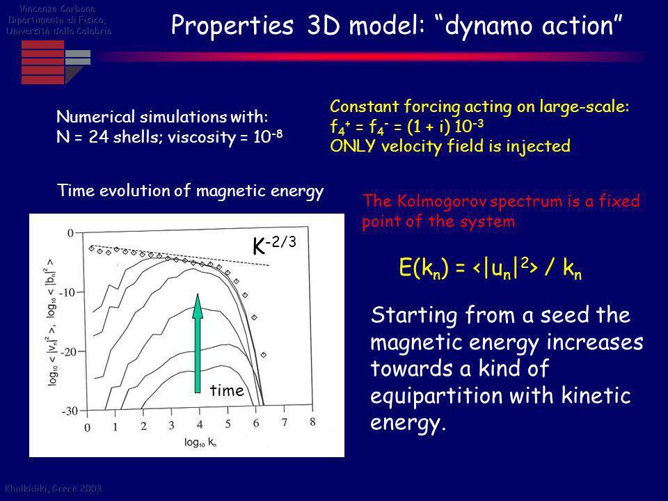 Properties 3D model: dynamo action